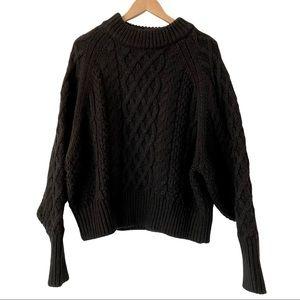 H&M Black Crewneck Cable-Knit Sweater XL